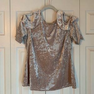 Crushed Velvet Top with peek-a-boo shoulders